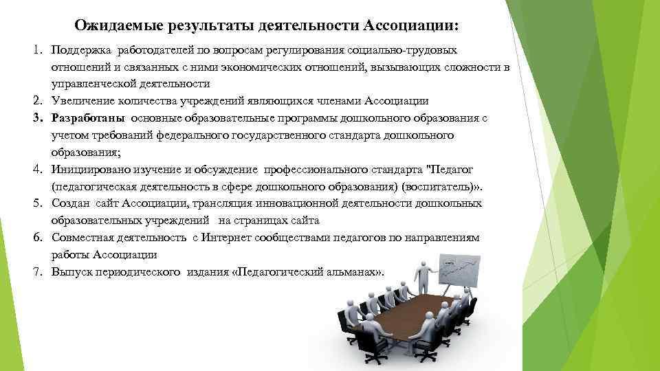 Ожидаемые результаты деятельности Ассоциации: 1. Поддержка работодателей по вопросам регулирования социально-трудовых отношений и связанных