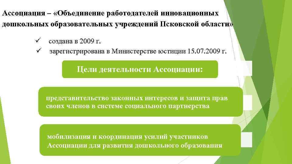 Ассоциация – «Объединение работодателей инновационных дошкольных образовательных учреждений Псковской области» создана в 2009 г.