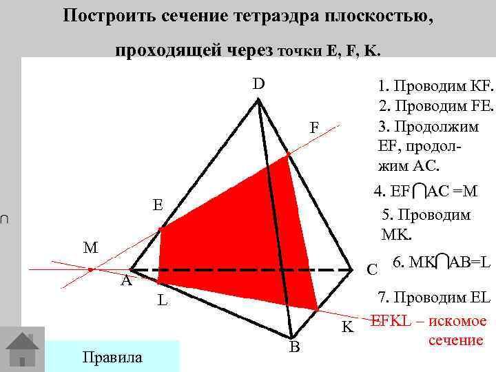 Построить сечение тетраэдра плоскостью, проходящей через точки E, F, K. D 1. Проводим КF.