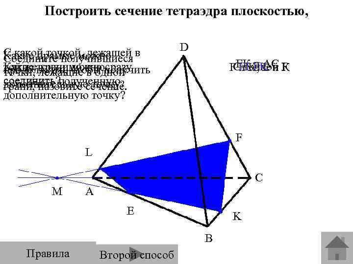 Построить сечение тетраэдра плоскостью, проходящей через точки E, F, K. С какой точкой, лежащей