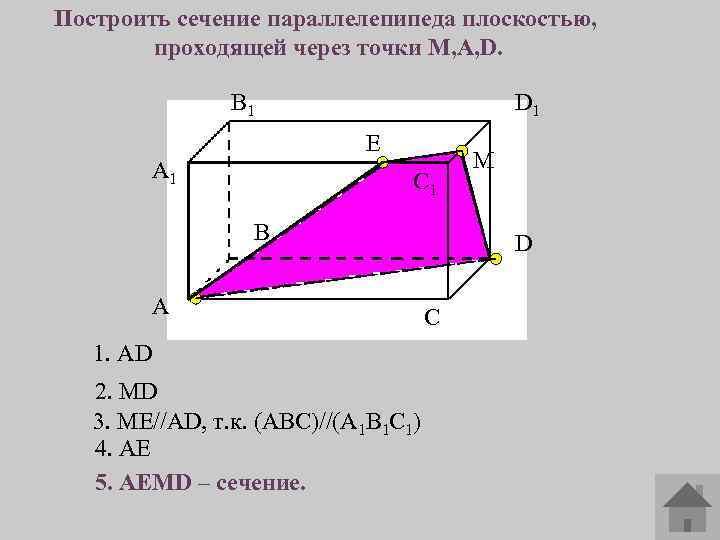 Построить сечение параллелепипеда плоскостью, проходящей через точки M, A, D. В 1 D 1