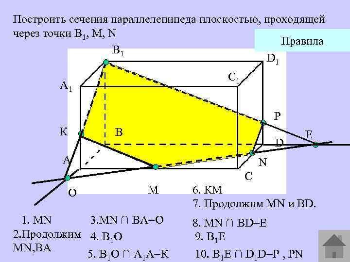 Построить сечения параллелепипеда плоскостью, проходящей через точки В 1, М, N Правила В 1