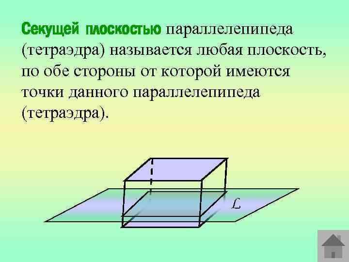 Секущей плоскостью параллелепипеда (тетраэдра) называется любая плоскость, по обе стороны от которой имеются точки