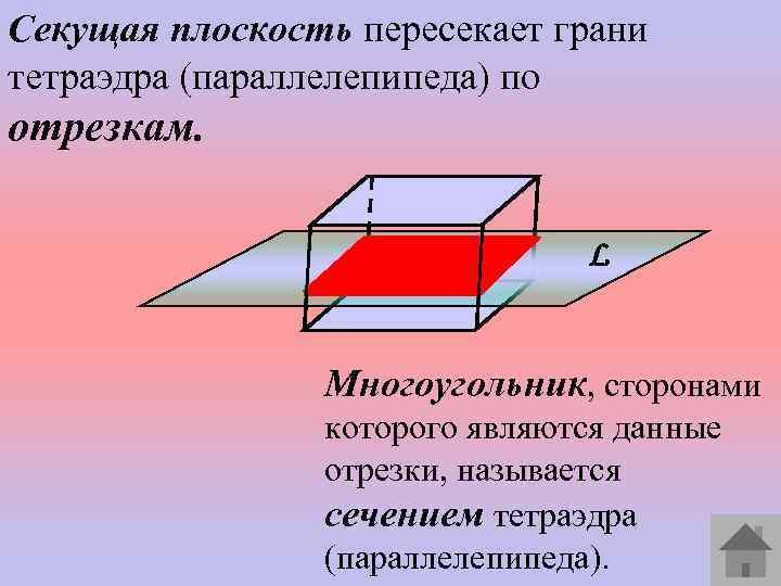 Секущая плоскость пересекает грани тетраэдра (параллелепипеда) по отрезкам. L Многоугольник, сторонами которого являются данные