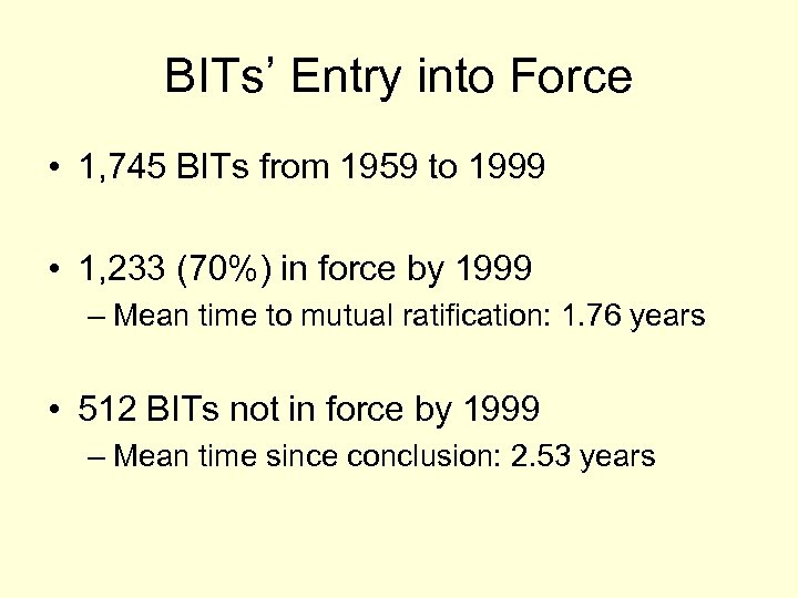 BITs' Entry into Force • 1, 745 BITs from 1959 to 1999 • 1,