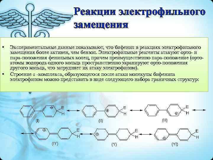 Реакции электрофильного замещения • • Экспериментальные данные показывают, что бифенил в реакциях электрофильного замещения
