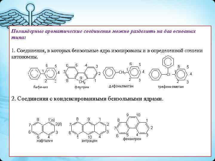 Полиядерные ароматические соединения можно разделить на два основных типа: 1. Соединения, в которых бензольные