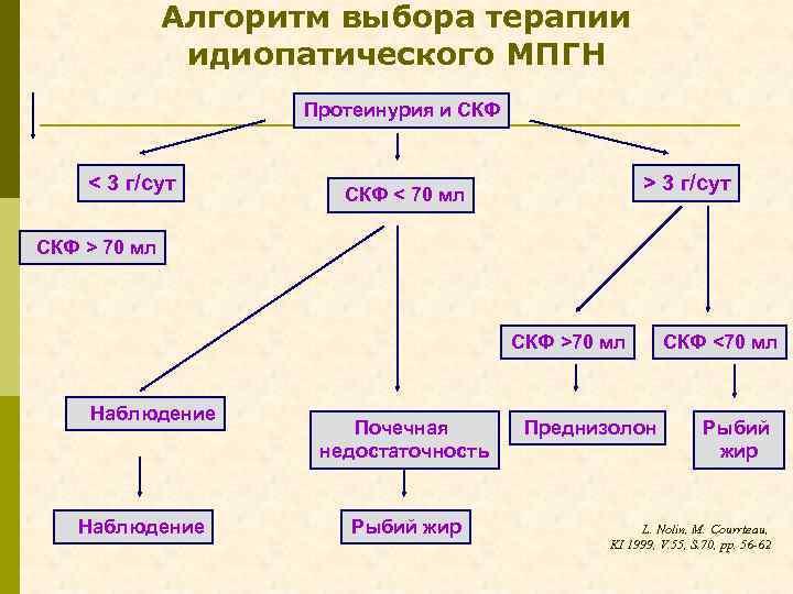 Алгоритм выбора терапии идиопатического МПГН Протеинурия и СКФ < 3 г/сут > 3 г/сут