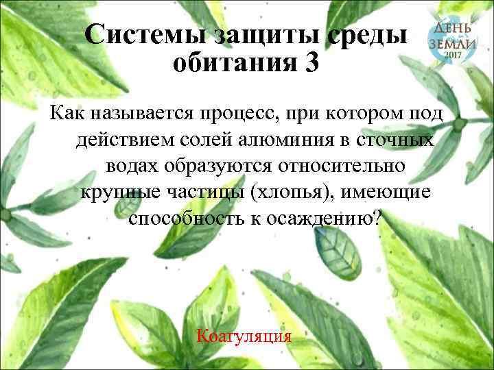 Системы защиты среды обитания 3 Как называется процесс, при котором под действием солей алюминия