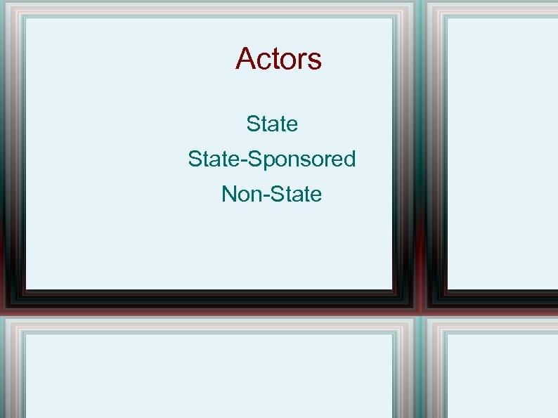 Actors State-Sponsored Non-State