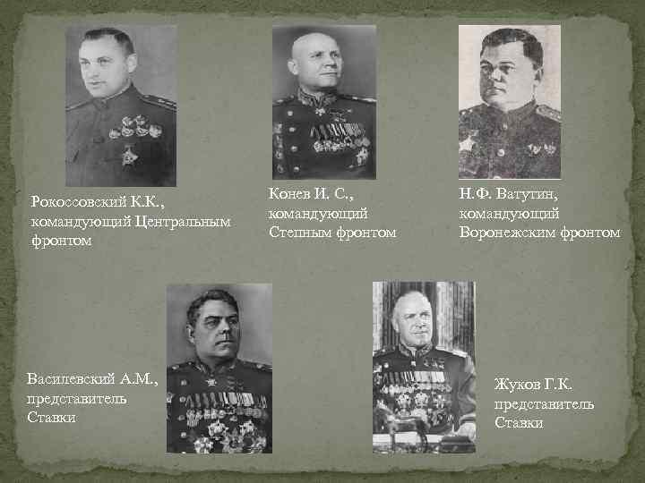 Рокоссовский К. К. , командующий Центральным фронтом Василевский А. М. , представитель Ставки Конев