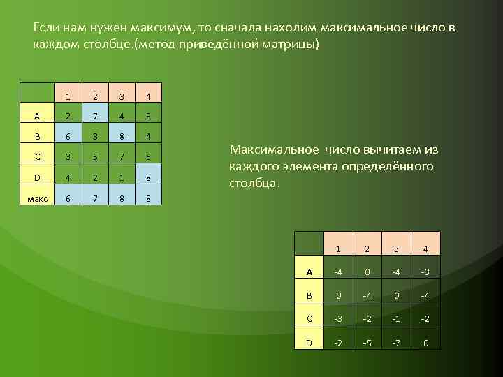 Если нам нужен максимум, то сначала находим максимальное число в каждом столбце. (метод приведённой