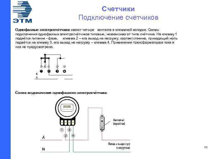 Счетчики Подключение счетчиков Однофазные электросчётчики имеют четыре контакта в клеммной колодке. Схемы подключения однофазных