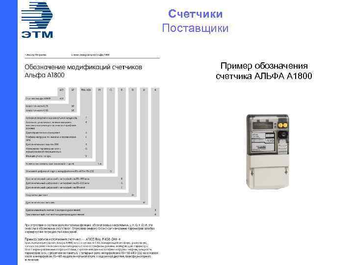 Счетчики Поставщики Пример обозначения счетчика АЛЬФА А 1800