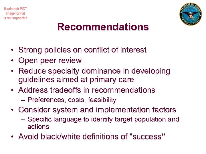 Recommendations • Strong policies on conflict of interest • Open peer review • Reduce