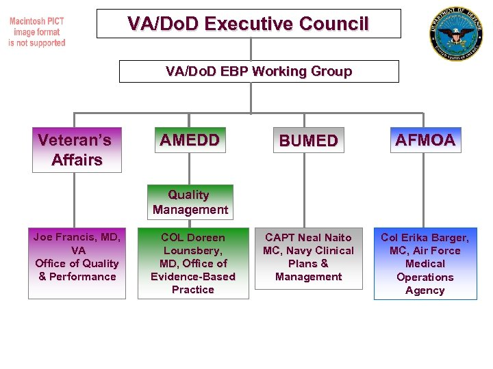 VA/Do. D Executive Council VA/Do. D EBP Working Group Veteran's Affairs AMEDD BUMED AFMOA