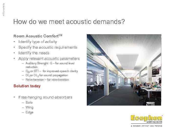 How do we meet acoustic demands? Room Acoustic Comfort. TM • Identify type of