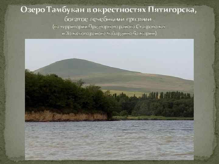 Озеро Тамбукан в окрестностях Пятигорска, богатое лечебными грязями. (на территории Предгорного района Ставрополья и