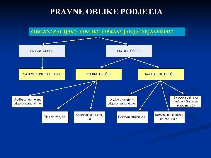 PRAVNE OBLIKE PODJETJA ORGANIZACIJSKE OBLIKE OPRAVLJANJA DEJAVNOSTI