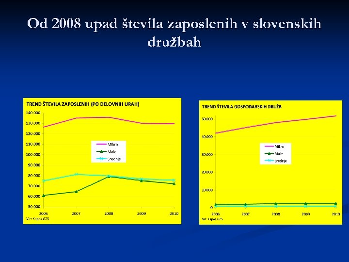 Od 2008 upad števila zaposlenih v slovenskih družbah