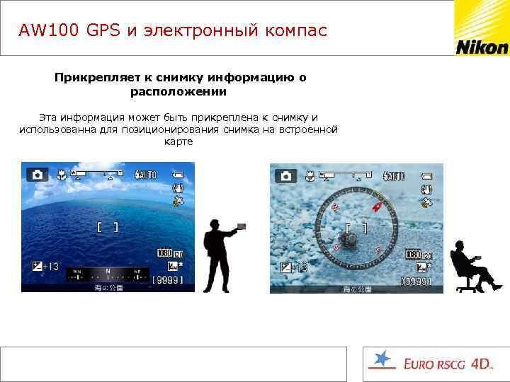 AW 100 GPS и электронный компас Прикрепляет к снимку информацию о расположении Эта информация