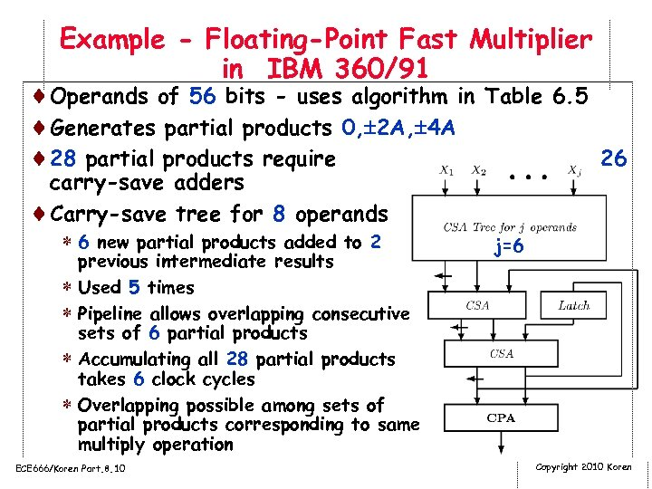 Example - Floating-Point Fast Multiplier in IBM 360/91 ¨Operands of 56 bits - uses