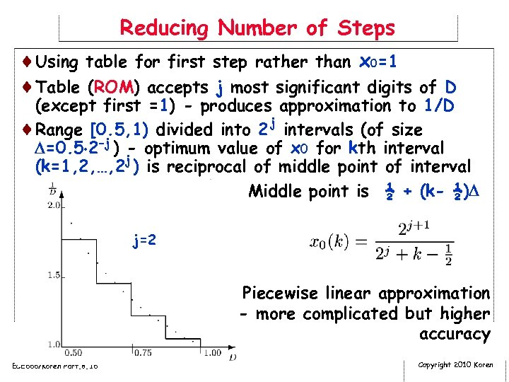 Reducing Number of Steps ¨Using table for first step rather than x 0=1 ¨Table