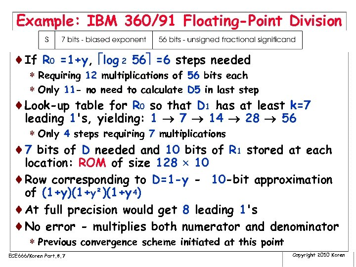 Example: IBM 360/91 Floating-Point Division ¨If R 0 =1+y, log 2 56 =6 steps