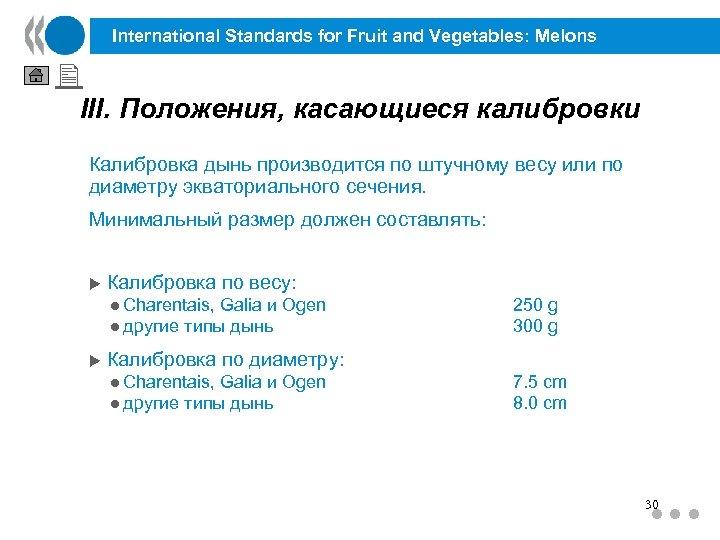 International Standards for Fruit and Vegetables: Melons III. Положения, касающиеся калибровки Калибровка дынь производится