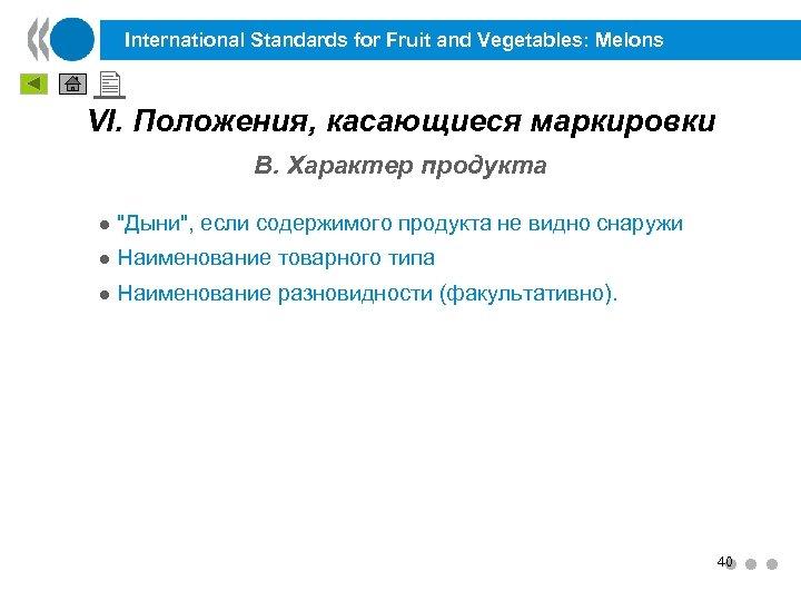 International Standards for Fruit and Vegetables: Melons VI. Положения, касающиеся маркировки B. Характер продукта