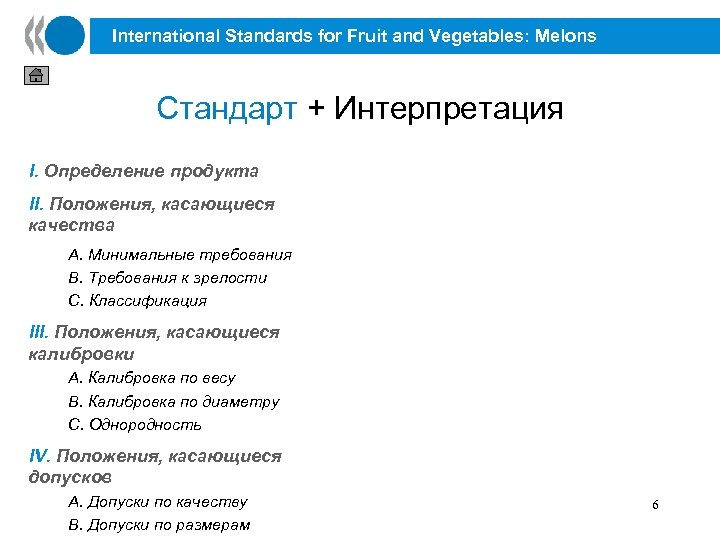 International Standards for Fruit and Vegetables: Melons Стандарт + Интерпретация I. Определение продукта II.