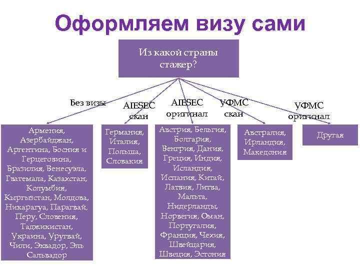 Оформляем визу сами Из какой страны стажер? Без визы Армения, Азербайджан, Аргентина, Босния и