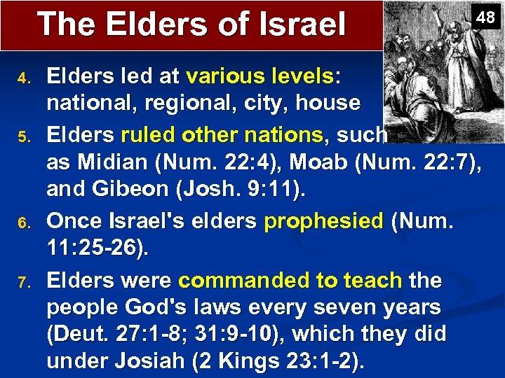 The Elders of Israel 4. 5. 6. 7. 48 Elders led at various levels: