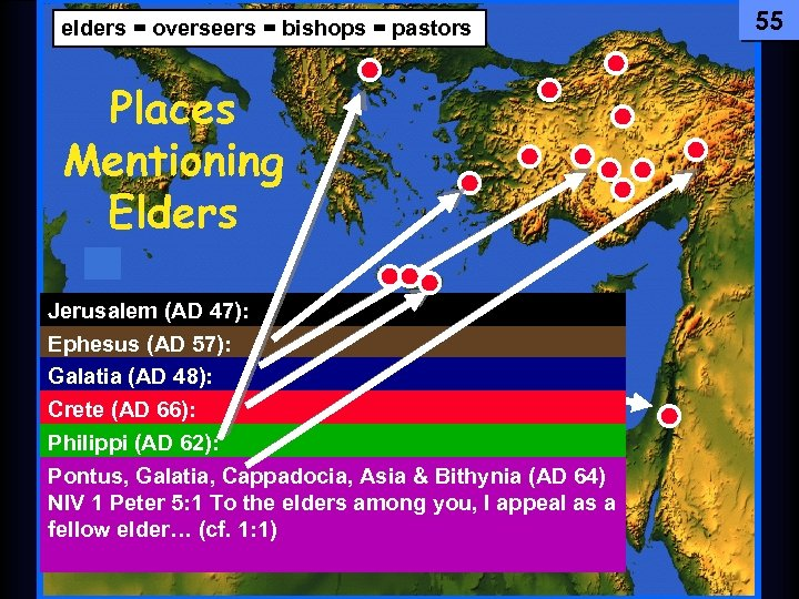 55 elders = Testament The Newoverseers = bishops = pastors Comes Together Places Mentioning