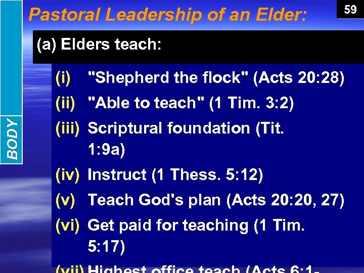 BODY INTRODUCTION Pastoral Leadership of an Elder: 59 (a) Elders teach: (i)