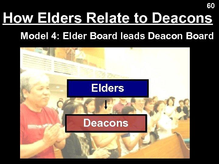 60 How Elders Relate to Deacons Model 4: Elder Board leads Deacon Board Elders