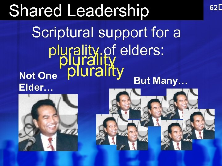 Shared Leadership Scriptural support for a plurality of elders: plurality Not One plurality Elder…