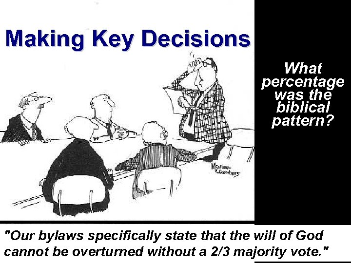 Making Key Decisions Ecclesiology Notes, pages 35 -85 What percentage was the biblical pattern?