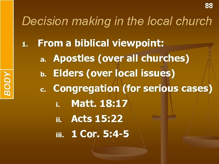 BODY INTRODUCTION 88 Decision making in the local church 1. From a biblical viewpoint: