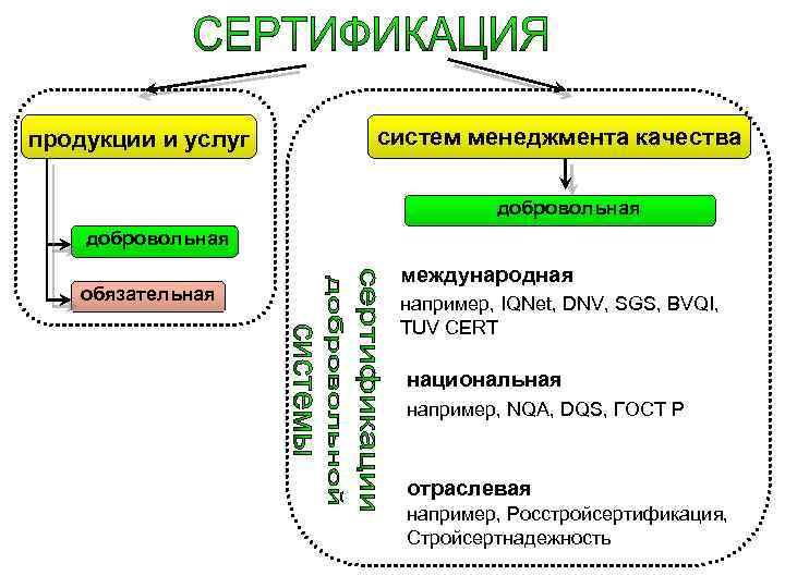 продукции и услуг систем менеджмента качества добровольная обязательная международная например, IQNet, DNV, SGS, BVQI,