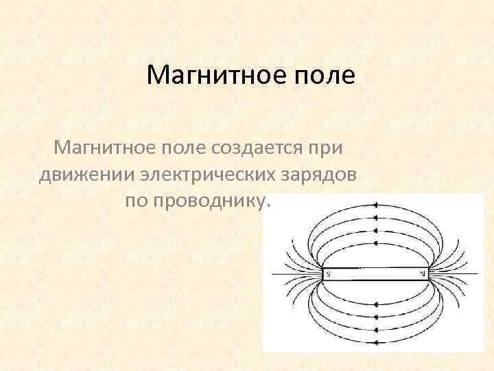Магнитное поле создается при движении электрических зарядов по проводнику.