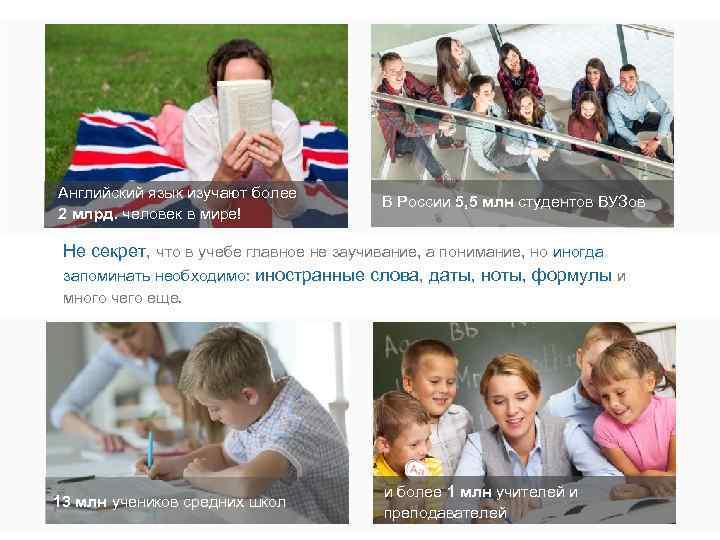 Английский язык изучают более 2 млрд. человек в мире! В России 5, 5 млн