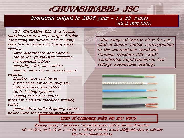 «CHUVASHKABEL» JSC Industrial output in 2006 year – 1, 1 bil. rubles (42,