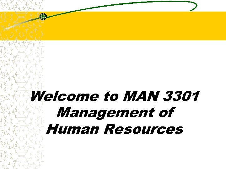 Welcome to MAN 3301 Management of Human Resources