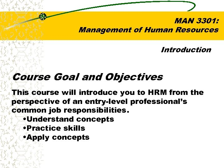 MAN 3301: Management of Human Resources Introduction Course Goal and Objectives This course will