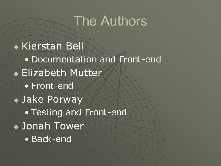 The Authors u Kierstan Bell • Documentation and Front-end u Elizabeth Mutter • Front-end