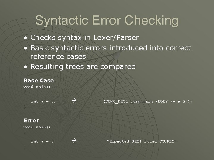Syntactic Error Checking • Checks syntax in Lexer/Parser • Basic syntactic errors introduced into