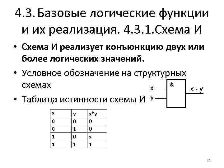 4. 3. Базовые логические функции и их реализация. 4. 3. 1. Схема И •