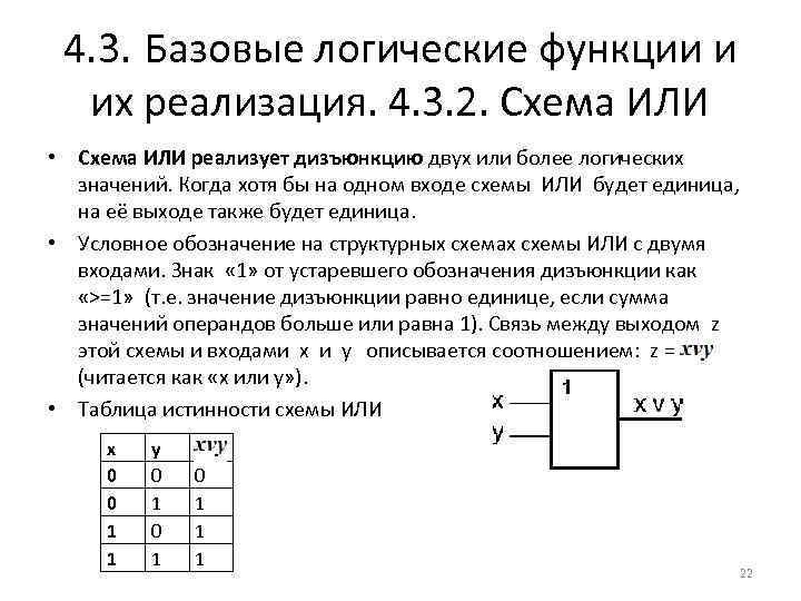 4. 3. Базовые логические функции и их реализация. 4. 3. 2. Схема ИЛИ •