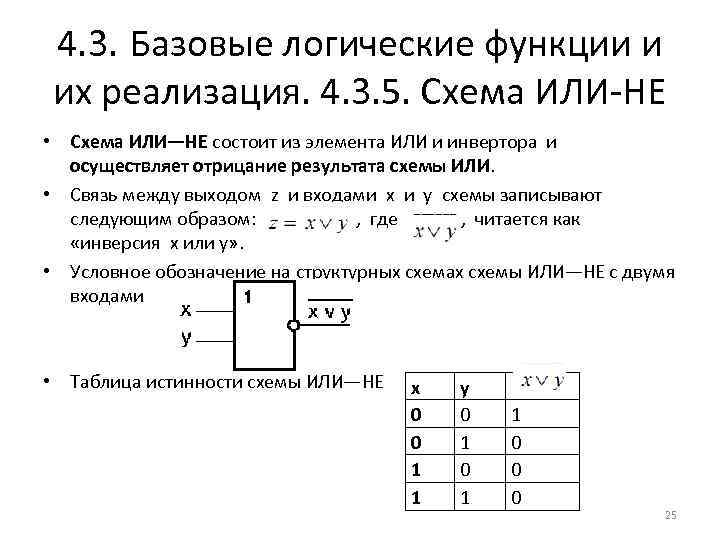 4. 3. Базовые логические функции и их реализация. 4. 3. 5. Схема ИЛИ-НЕ •